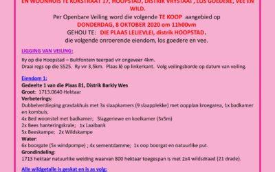 VEILING DONDERDAG, 8 OKTOBER 2020 OM 11H00VM