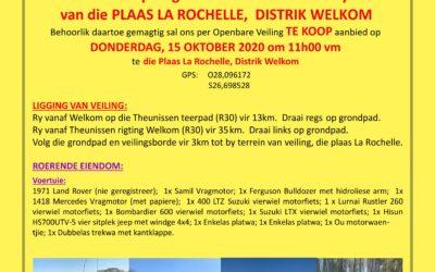 VEILING :  DONDERDAG, 15 OKTOBER 2020